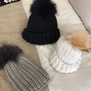 Hand Knit Snow Day Hats with fur poms!